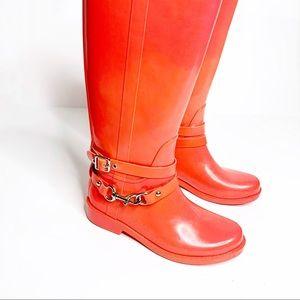 Coach Shoes - COACH Lori Rain Boots Tall Fluorescent Watermelon